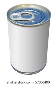 Soup can with empty white label isolated on a white background for adding text and graphics