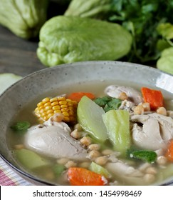 soup with chayote and chicken, corn, carrots and chickpeas. Latin American cuisine. dish with chayote.