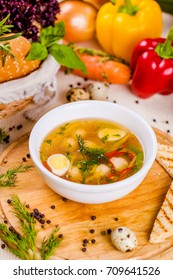Soup with chicken meatballs, vegetable and quail eggs