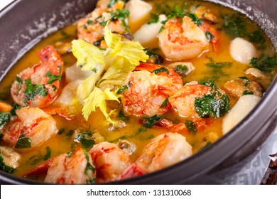 Soup with fish and seafood
