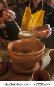 soup, food in ceramic pottery, retro, restaurant in Hungary