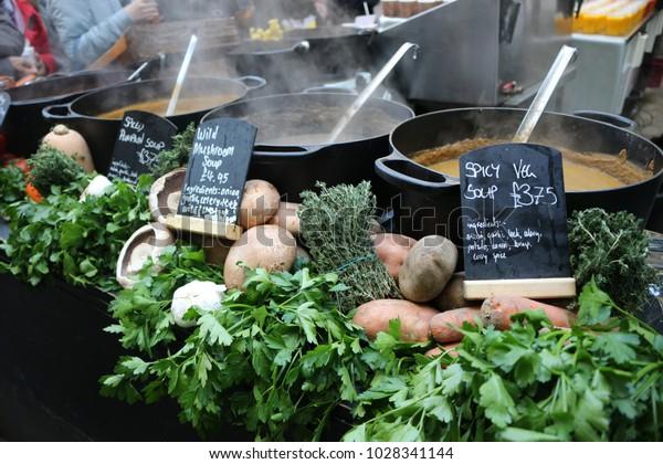 Soup at a Food Market