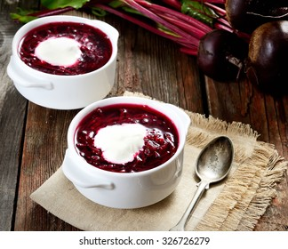 Soup with fresh beets served cold with cream