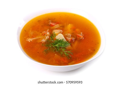 Soup with meat and potato isolated over white background