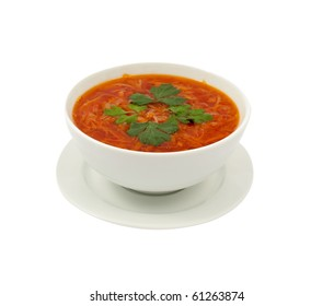soup on a white background