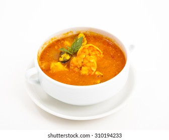 Soup photo in a bowl on a white background
