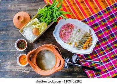 Soup with pork pot shrimp squid shellfish Seafood Hot Pot thai style