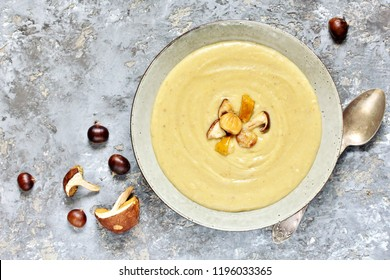 soup puree with mushrooms and chestnuts. autumn soup. Italian and French food. copy space. top view. Flatlay