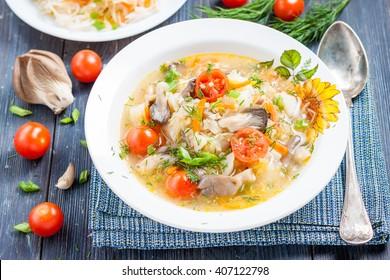 soup of sauerkraut with mushrooms. Russian kitchen