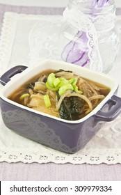 soup seaweed vegetables algae dish hot vegetarian and vegan food