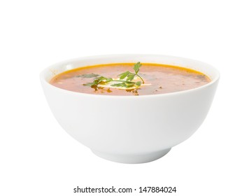 soup with sour cream isolated on white background