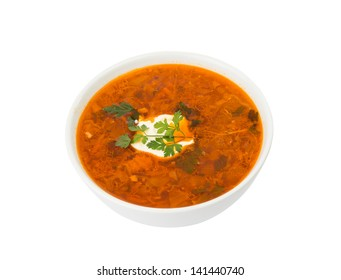 soup with sour cream on a white background