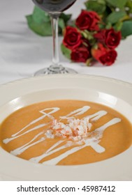 Soup starter with red wine and roses