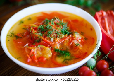 soup of sweet peppers and tomatoes