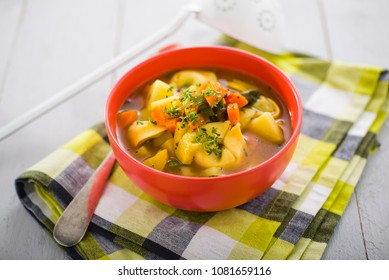 soup with tortellini and potatoe