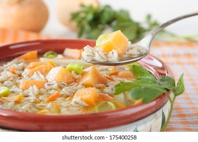 Soup of turnip and pearl barley with leek and carrots