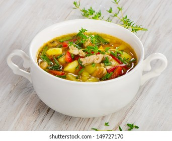 Soup with vegetables and chicken.Selective focus