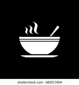 Soup white icon on black background