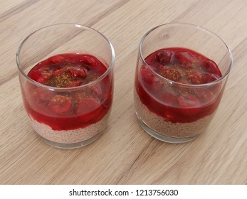 Souper food, delicious dessert, chokolate pudding with chia seeds, cherry compote withhoney and cinnamon
