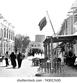 SOUQ WAQIF, DOHA, QATAR - FEBRUARY 2012:  The souq is popular with tourists and locals alike. Shot on medium format black and white film.