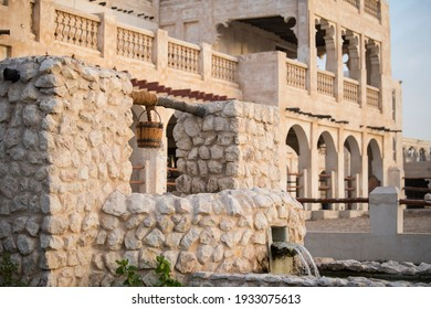 Souq Waqif, Doha, Qatar, May,6,2019, Traditional Arabian building built of wood and mud decorated with a facade in the traditional Arabic style