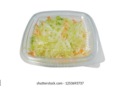 sour cabbage salad packed in plastic container for delivery