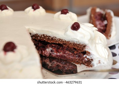 Sour cherry cake with whipped cream - piece of cake close-up.