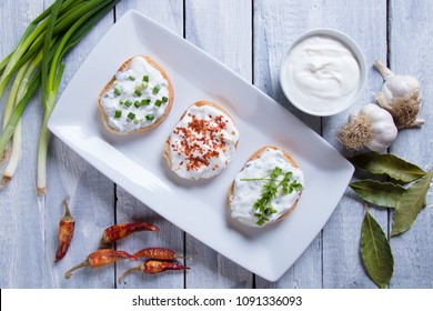Sour cream or cheese spread on home made bread