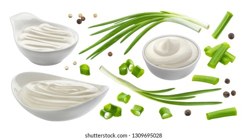 Sour cream and chives isolated on white background, green onion with sour cream sauce, collection