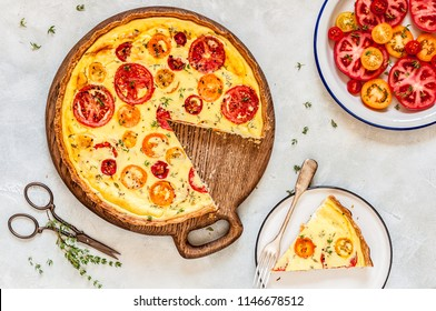 Sour Cream, Cottage Cheese, Tomato and Thyme Tart
