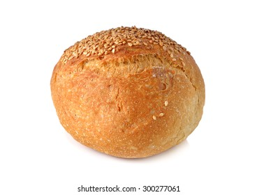 sour dough sesame roll on white background