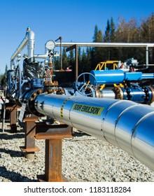 Sour Oil / Sour Emulsion Pipeline Riser in Canada sunny day