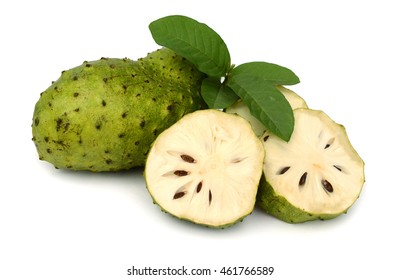 Sour sop, Prickly Custard Apple. (Annona muricata L.) Treatment of cancer on wooden plate