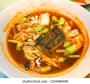 sour soup, made of tamarind with fish and vegatable.