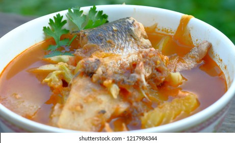 Sour soup made of Tamarind paste and fish /Thailand Food mean in thai KAENG SOM