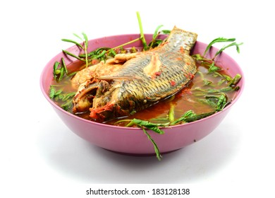 Sour soup made of tamarind paste with fish