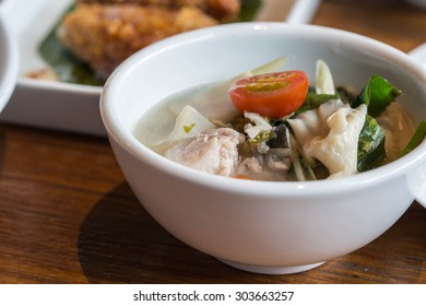 sour soup or Tomyum fish thai   traidition  food