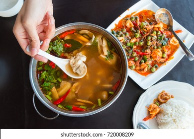 """sour and spicy pork soup and spicy stirred shrimp, Thai famous local food called """"Tom Sab"""""""