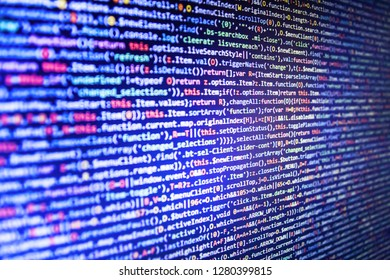 Source abstract algorithm concept,  Coded data on monitor,  Programming source code HTML for Website development,  Programming code abstract company office,  Computer interface