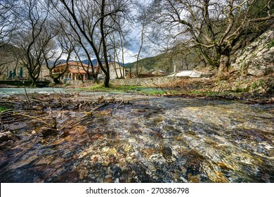 Source of Aroanios river, in Planitero village, North Peloponnese, Greece