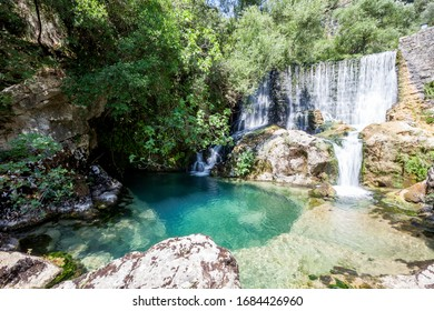 source of the Auso river  in Cilento and Vallo di Diano National Park. Sant'Angelo a Fasanella, Campania, Italy
