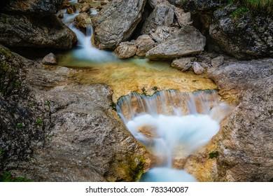 The source of Soca river in Trenta valley in Triglav national park in Slovenia