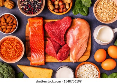 Sources of healthy protein - meat, fish, dairy products, nuts, legumes, and grains.