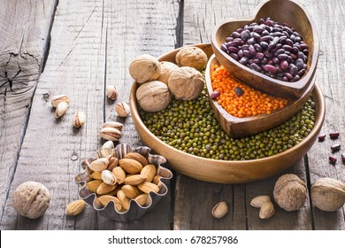 Sources of vegetable protein. collection of various legumes and nuts.