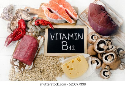 Sources of Vitamin B12 (Cobalamin). Healthy diet eating.