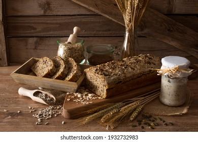 Sourdough grain bread on a rustic background