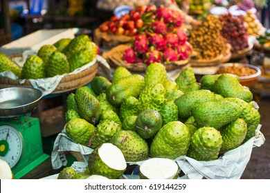 Soursop in the Asian market in Vietnam, the graviola fruit of the sour apple in the display case