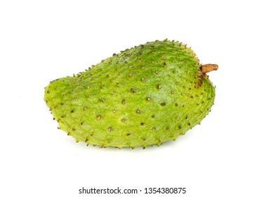Soursop fruit on white isolated background