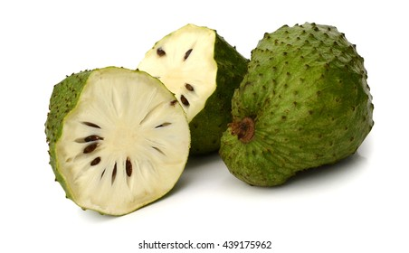 Soursop or Prickly Custard Apple or Durian belanda (Annona muricata L.) tropical fruit used for fresh juices isolated on white background