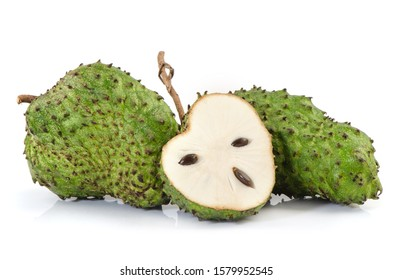 Soursop, Prickly Custard Apple isolated on white background.